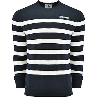 Lambretta Mens Striped Fine Knit Warm Winter Pullover Sweater Jumper Top - Navy