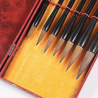 Escovas de caligrafia de cabelos de lobo definidas com caixa