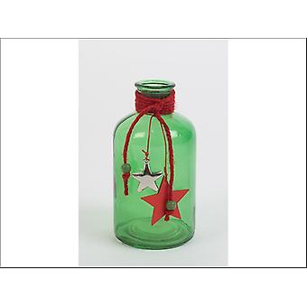 Triflora Glass Bottle Green/Red 16cm DX03280