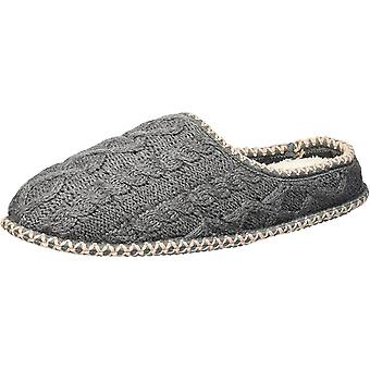 Dearfoams Women's Quilted Cable Knit Clog Slipper Dark Heather Gray XL Regula...