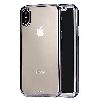 Ultradünne Galvanik soft TPU Protective Back Cover Case für iPhone X / XS(Schwarz)