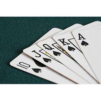 Nahaufnahme von Blackjack Spielkarten Pik Royal Flush PosterPrint zeigen