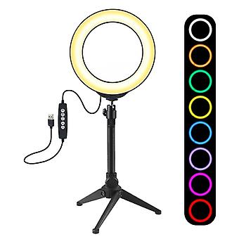 PULUZ 6,2 tum 16cm USB 10 Lägen 8 Färger RGBW Dimbar LED-ring Vlogging Fotografi Video Lights + Stationära stativ mount med cold shoe stativ boll H