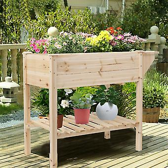 Raised Garden Bed Patio Elevated Flower Planter Boxes W/ Removable Grow Dividers