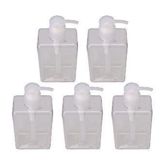 5 Pieces 280ml Transparent Empty Pump Bottles Square Plastic Bottles