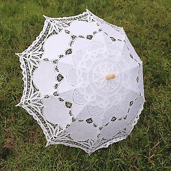 Bride Wedding Umbrella Cotton Parasol Lace Handmade Embroidery Beaching Wedding