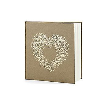 Gold Heart Wedding Guest Book | Kraft Brown Memories Keepsake Gift
