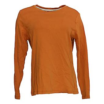 Isaac Mizrahi Live! Women's Top Essentials Crew Neck Knit Orange A385412