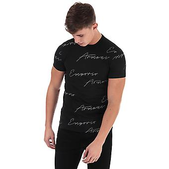 Men's Armani All Over Logo T-Shirt in Black