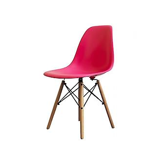 Charles Eames Style Bright Pink Plastic Retro Side Chair - Natural Wood Legs