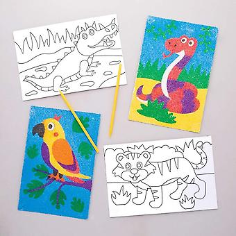 Jungle animal sand art pictures (pack of 8)