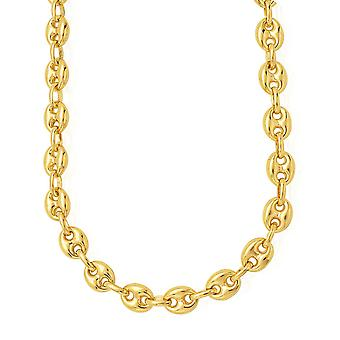 14 ك مارينر ينفخ الذهب الأصفر ربط سلسلة قلادة، 7 ملم