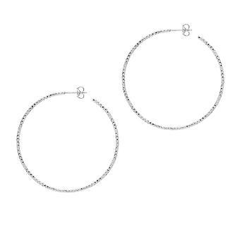 The Hoop Station La SARDEGNA Silver 45mm Hoop Earrings H267S