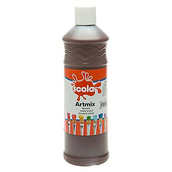Scola AM600/39 Artmix Ready-mix Paint 600ml - Burnt Umber