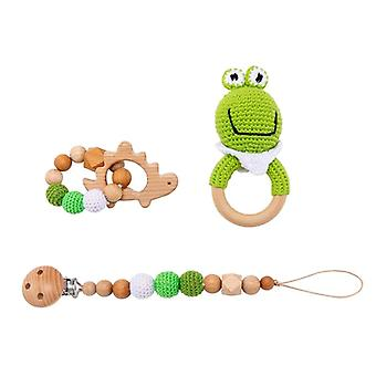 Baby Rattle Animal Crochet Wooden Ring