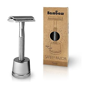 Silver stainless razor with holder 1 unit