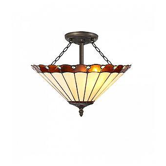 Lámpara De Techo Tiffany Calais 3 Bombillas ámbar 29,5 Cm