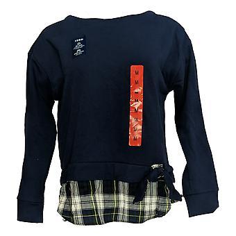 Izod Women's Sweater Plaid Tied Tie Front 2 Fer Sweatshirt Blue