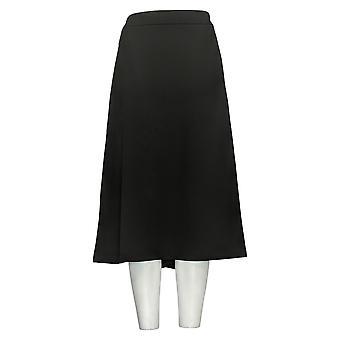 Nina Leonard Skirt A-Line Stretch Skirt With Elastic Waist Black R9001