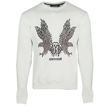 Roberto Cavalli Mirrored Eagle White Sweater