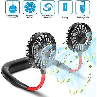 USB portable fan cold fan hands free neck fan hanging rechargeable mini sports fan 3-speed adjustable neck dual fan Home Office