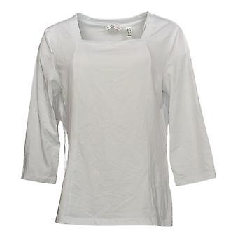 Isaac Mizrahi En direct! Women's Square Neck Princess Knit Top Blanc A390320