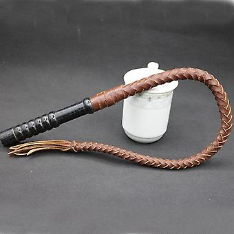 牛革馬木製ハンドルライディングホイップ