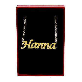Kigu Hanna - Halsband med anpassat namn pläterat i 18 karats guld, med namnformat hänge, juvel för kvinnor, Ref. 4963303128481