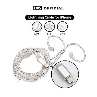 KZ Audio KZ Lightning Cable - Silver - Replacement / Upgrade - Type A / B / C / MMCX Pin - Product Suitable for: Type A Pin
