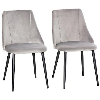 HOMCOM High Back Dining Chairs Modern Upholstered Velvet-Touch Fabric Accent Chairs with Metal Legs for Kitchen, Set of 2, Grey