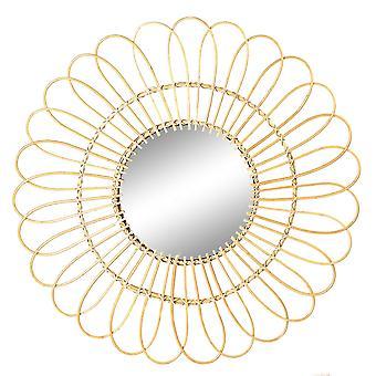 Daisy Rattan Wall Mirror Flor Redonda Colgante Boho Mirror Frame 89.5cm Marrón