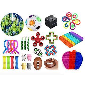 38pcs Fidget Pop it Toys Set pack til børn og voksne
