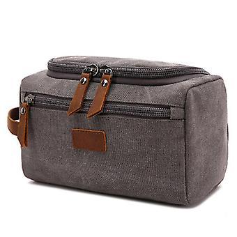 Custodia per il lavaggio in tela grigia Borsa cosmetica da viaggio borsa cosmetica (24cm* 13cm*14cm)