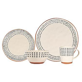 24 piezas de cerámica de borde manchado vajilla set vajilla monocroma