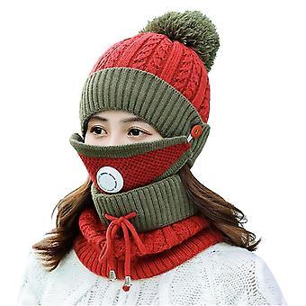 قناع وشاح الشتاء الأحمر تعيين مع صمام التنفس سميكة قبعة محبوك cai1157
