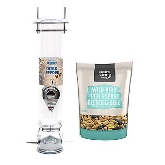 1 x Simply Direct Large Deluxe Wild Bird Seed Feeder with 0.9KG bag of High Energy Feed