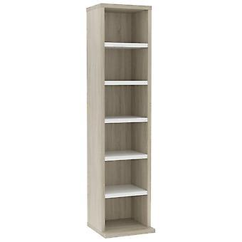 vidaXL CD cabinet White Sonoma oak 21x20x88 cm chipboard