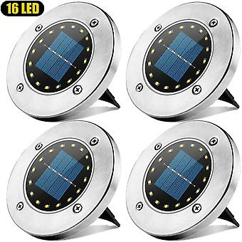 Outdoor solar light 16 led spot solar lamp garden waterproof ip65 lawn decorative light white-4pcs dt5951