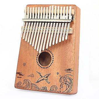 Kalimba Thumb Piano 17 Keys Crane Ocean Print Acacia Musical Instrument For Adult Beginners