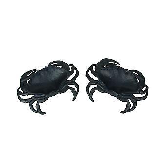 Set of 2 Blue Cast Iron Crab Dishes Decorative Bowl Coastal Serving Tray Decor