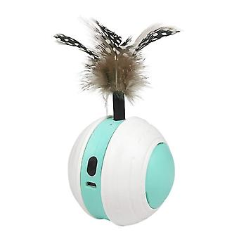 Smart Interactive Cat Toy Colorful Led Self Rotating Vocalize Ball With Bell And Feather Usb Rechargeable Cat Kitten Ball Toy