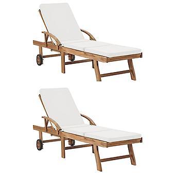 vidaXL chaises longues avec 2 pcs de bois massif de teck blanc crème
