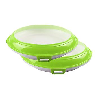 2PCS Tray Stackable Vacuum Preservation Tray Refrigerator Microwave Food Storage Container(green)