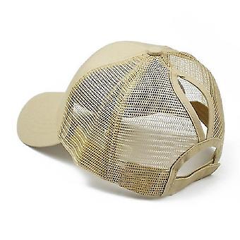 Zomer katoen mesh opening paardenstaart hoed zonnebrandcrème baseball cap, specificatie: 无标 (Khaki)