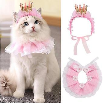 Lace Cat Bandana og Cat Crown Tilbehør, Lille Hund Pink Kostume (Pink)