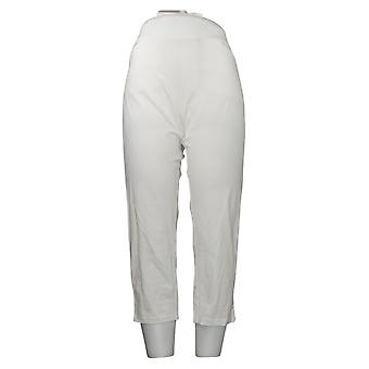 Susan Graver Pantalones Petite de Mujer Fin de Semana Premium Stretch Crop White A353369