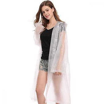 Raincoat, Portable Adult Translucent Hooded Rain Poncho For Rain Snow Weather Camping Travel Mountaineering(115 / 65cm)