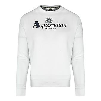 Aquascutum branded logo vit sweatshirt