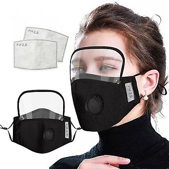 Protective Face Mask Glass Cloth Mask For Face Adult Men Protective Face Mask With Eye Sheld Black Cotton Face Mask Maseczki