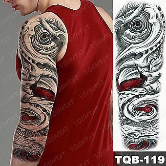 2Pcs large arm sleeve tatto sticker snake owl bear maori waterproof temporary for women men